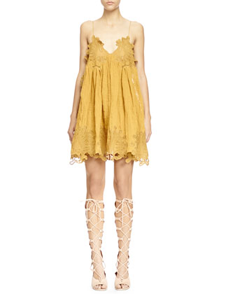 Peacock-Embroidered V-Neck Shift Dress, Mustard