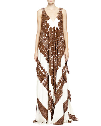 Two-Tone Patch Lace Folkloric Gown, Havana Brown