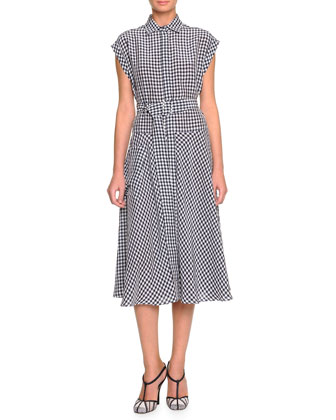 Cap-Sleeve Gingham-Check Shirtdress, Dark Navy/Bianco