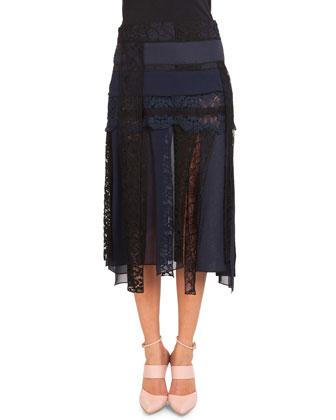 Pieced Lace Midi Skirt
