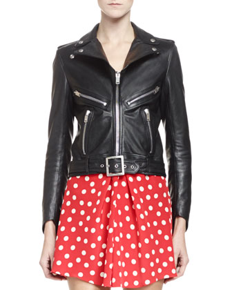 Leather Motorcyle Jacket with Belted Waist