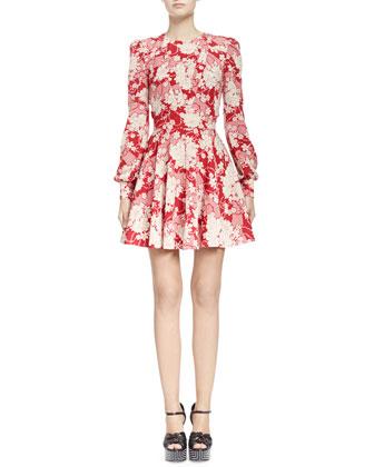 Draped Kimono Floral Dress