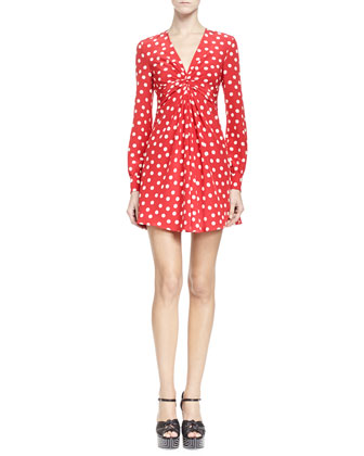 Long-Sleeve V Neck Polka Dot Dress