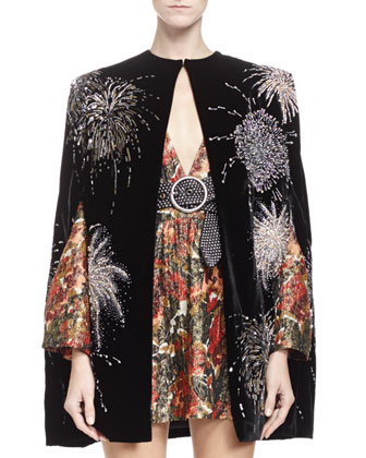 Velvet Cape with Allover Embroidery