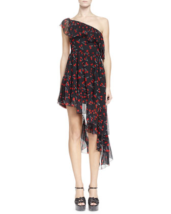 One-Shoulder Cherry-Print Silk Dress