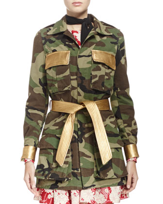 Camouflage Belted Military-Style Jacket