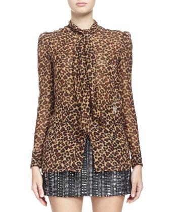 Long-Sleeve Leopard Print Georgette Blouse