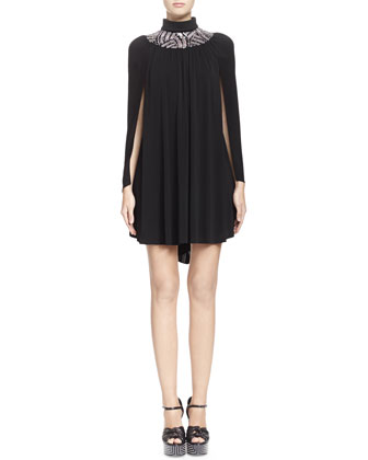 Embroidered-Neck Cape Dress, Noir