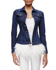 Feather-Trimmed Denim Jacket