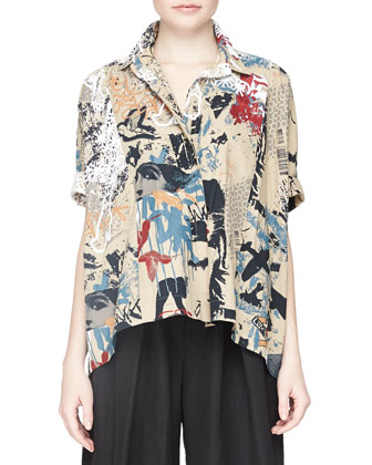 Short-Sleeve Street Art-Print Camp Top, Paperbag Multi