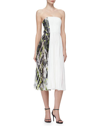 Strapless Contrast-Side Pleated Dress, Ivory/Black/Green