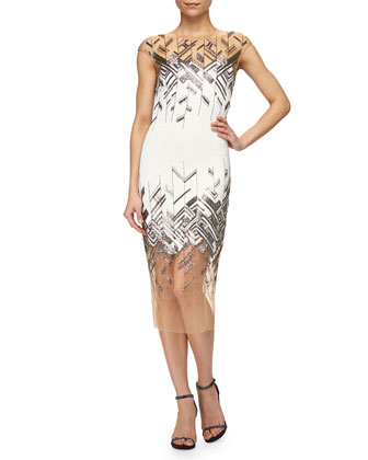 Chevron-Beaded Tulle-Inset Sheath Dress, Ivory/Silver