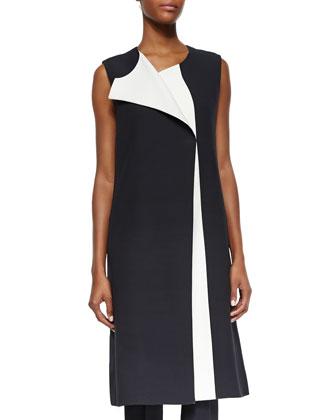 Bicolor Full-Length Vest, White/Black Lava