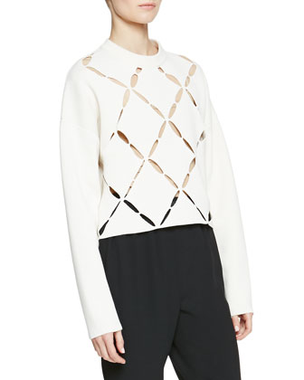 Cutout Argyle-Front Knit Sweater, Off White