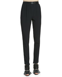 Belted Crepe Track Pants, Black