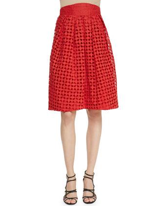 High-Waisted Cutwork Embroidered Skirt
