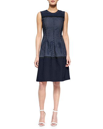 Mesh Contrast-Lined Dress, Navy