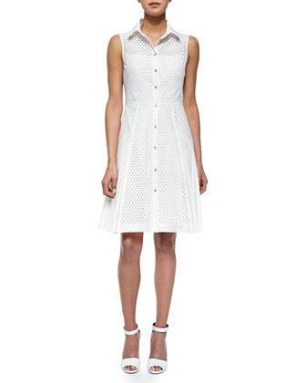 Side-Pleated Mesh Shirtdress, White
