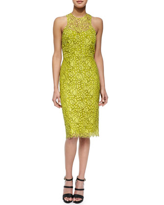 Cutout-Back Floral Lace Sheath Dress, Citrine