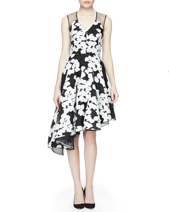 Floral-Print Asymmetric Ruffled Dress, Black/Ivory