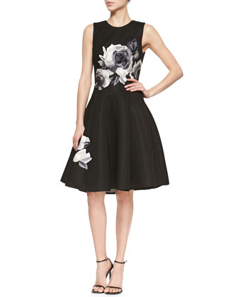 Rose-Embroidered Fit-And-Flare Dress, Black