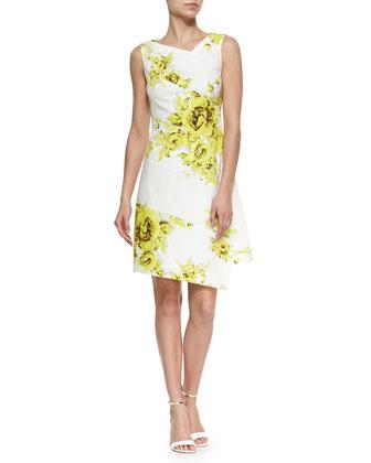 Asymmetric Rose-Print Spiral Dress, Yellow