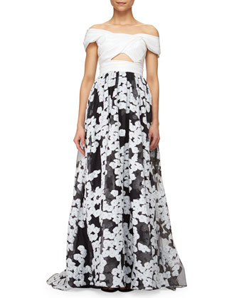 Off-The-Shoulder Floral-Embroidered Cutout Gown, Black/Ivory