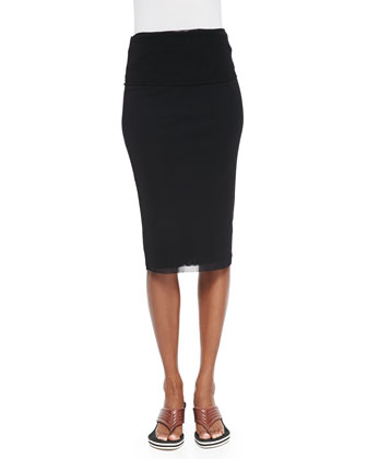Below-The-Knee Tulle Tube Skirt, Black