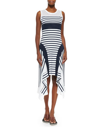Sport-Stripe Handkerchief-Hem Tank Dress