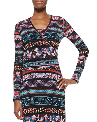 Mixed-Print Striped Wrap Top, Blue Multi