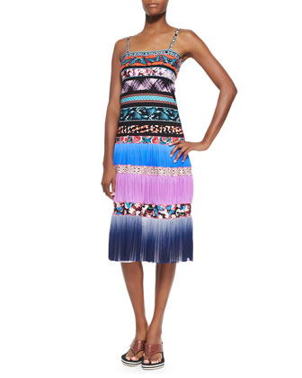 Ombre Striped Mixed-Print Tiered Slip Dress, Blue Multi