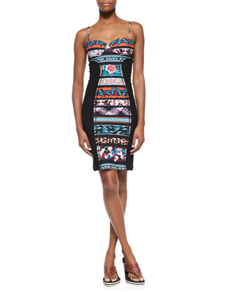 Mixed-Print Paneled Bustier Dress, Blue Multi