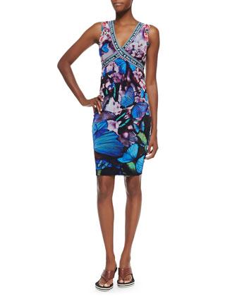 Butterfly-Print Cross-Front Sheath Dress, Blue Multi