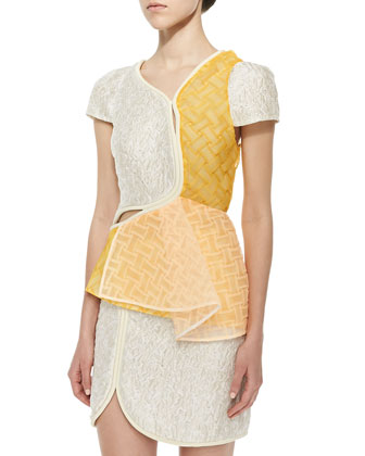 Freeform Woven & Crinkled Satin Top, Ivory/Cream/Yellow