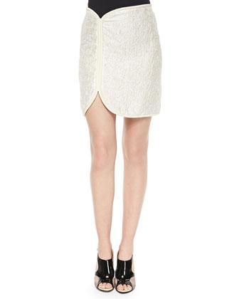 Cord-Framed Crinkled Satin Skirt, Ivory/Cream
