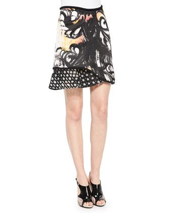 Mixed-Print Ruffle-Paneled Skirt, Black Mimosa