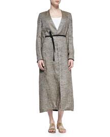 Vantin Convertible Long Coat, Oak Melange
