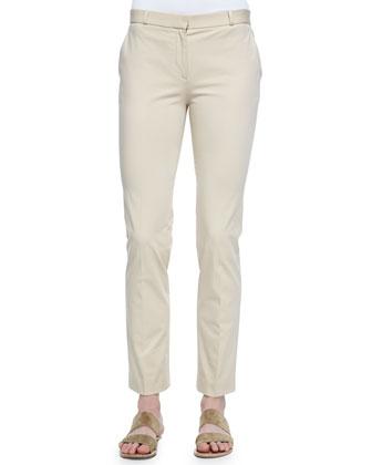 Cordan Front-Zip Suit Pants, Oyster