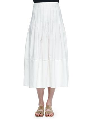 Vanni Drop-Waist Pleated Skirt, White