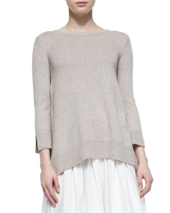 Georgia Slit-Cuff Crewneck Sweater, Oyster Melange