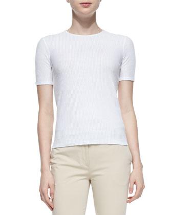 Kenzi Ribbed Cotton T-Shirt, White