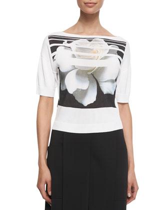 Striped Floral-Printed Tee, White/Black