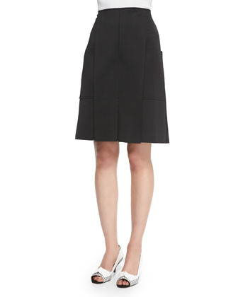 Pocket-Detailed A-Line Skirt, Black