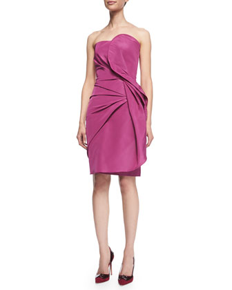 Fold-Pleated Strapless Cocktail Dress, Dark Pink