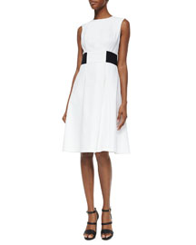 Contrast Banded Woven Fit-And-Flare Dress