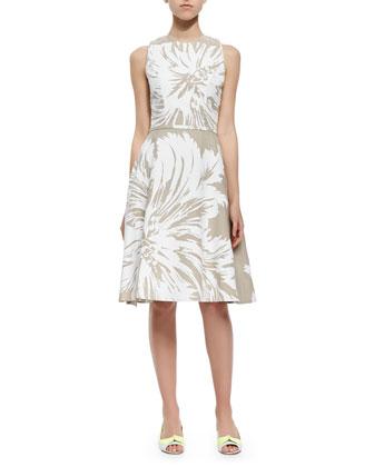 Tulip-Print Linen Sundress, White/Gray