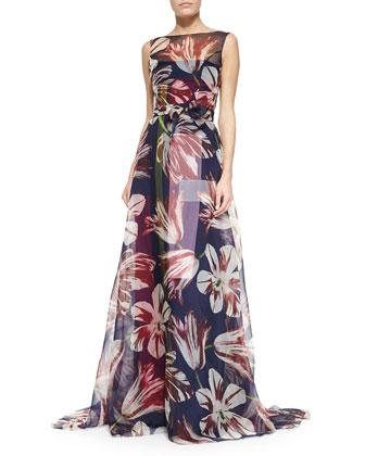 Tulip-Print Organza Gown, Purple