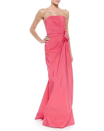Strapless Ruched-Waist Gown