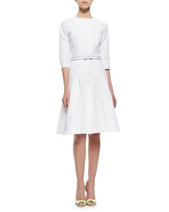 Three-Quarter-Sleeve Bubble-Jacquard Shirtdress, White