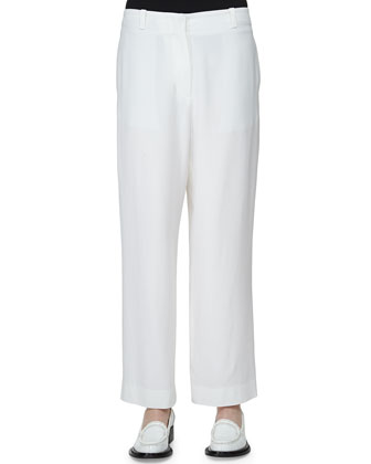 Flat-Front Low-Rise Cropped Pants, White